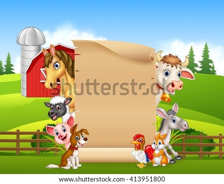 Cartoon farm animals with blank sign - stock vector