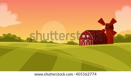 Cartoon farm field green seeding field, red barn on a green farmer's field, red mill with a barn in the field of sowing, sowing green field, large field farming striped, vector illustration farm field - stock vector