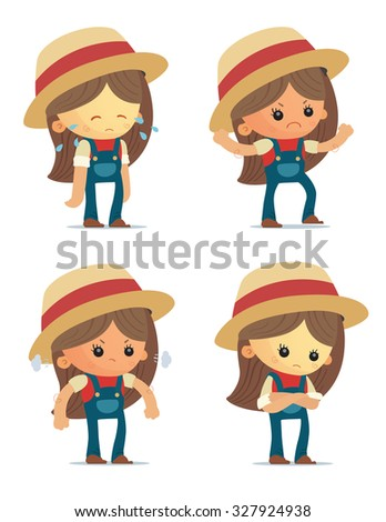 Cartoon Farm Girls - stock vector