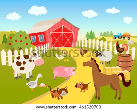 cartoon farm scene illustration with domestic pets, animals and birds, trees, sky and clouds, tractor on a hill. vector