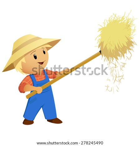 Cartoon Farmer hay in hat with pitchfork. Vector Illustration. - stock vector