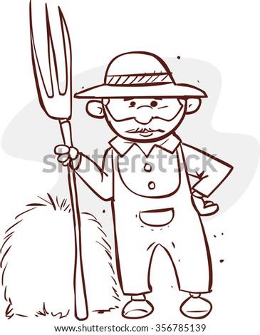 Cartoon Farmer Holding Rake Black White Stock Vector ...