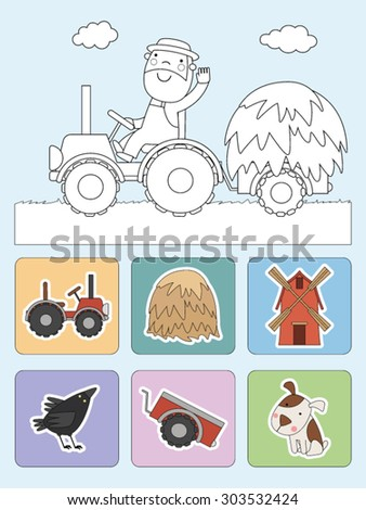 Cartoon farmer on tractor - vector illustration. - stock vector