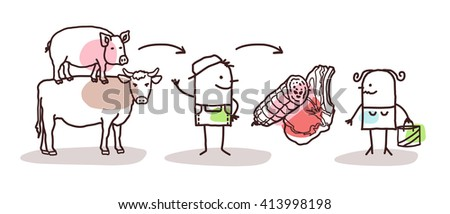 cartoon farmer production - beef, pork and meat - stock vector