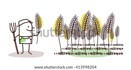 cartoon farmer - wheat land - stock vector