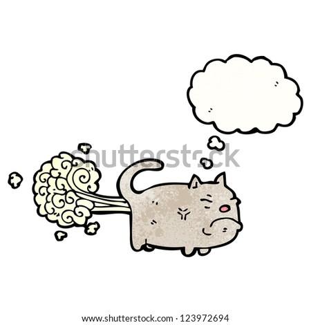 cartoon farting cat - stock vector
