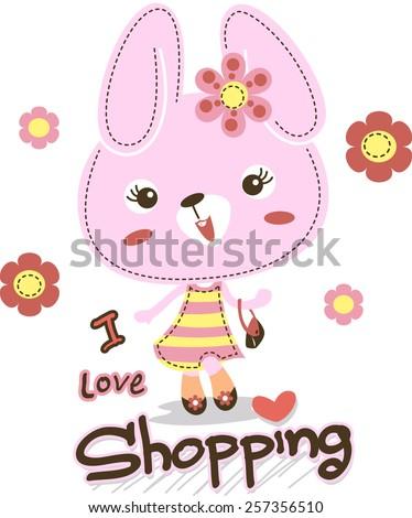 Cartoon fashion rabbit girl vector. - stock vector