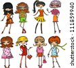 Cartoon fashionable girls - stock vector