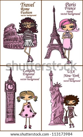Cartoon fashionable girls, background - stock vector