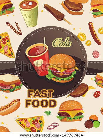 Cartoon fast-food vintage background - stock vector