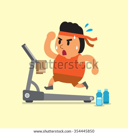 Cartoon fat man running on treadmill - stock vector