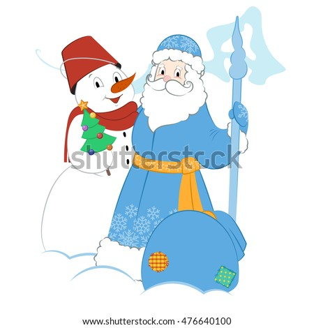Cartoon Father Frost with Snowman and presents. A small Christmas tree and a big bag of gifts.