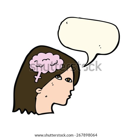 cartoon female head with brain symbol with speech bubble - stock vector