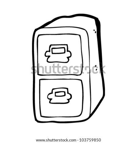 cartoon filing cabinet - stock vector