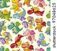 cartoon fire dragon seamless pattern - stock vector