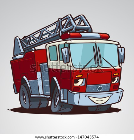 Cartoon fire truck character isolated - stock vector