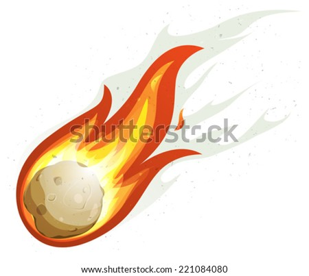 Cartoon Fireball And Comet Flying/ Illustration of a comic comet fire falling with blazing fireball full of flames - stock vector