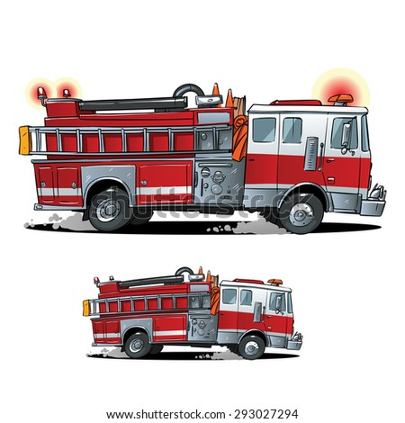 Cartoon Firetruck on a white background - stock vector