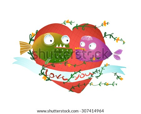 Cartoon Fish in Love with Red Heart for Kids Design. Fun cartoon hand drawn scary fishes illustration for children. EPS10 vector has no background color. - stock vector