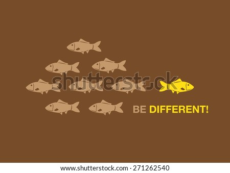 Cartoon fish in right yellow swimming in opposite direction from other dull color fishes. Creative conceptual vector illustration for being special and unique. - stock vector