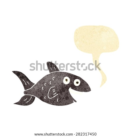 cartoon fish with speech bubble - stock vector