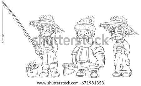 Cartoon Fisherman Farmer Lumberjack Black And White Character Vector Set For Coloring