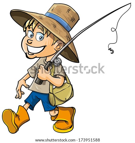 Cartoon fisherman with a fishing rod. Isolated - stock vector