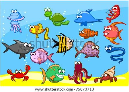Sea Creatures Cartoon Cartoon Fishes in The Sea