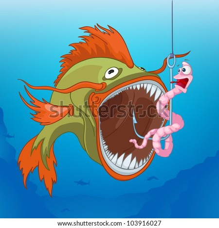 Cartoon Fishing. Worm and Fish Scene. Vector Illustration EPS 10.