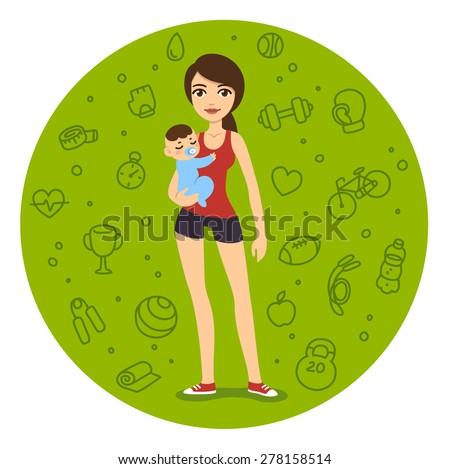 Cartoon fit mom in sporty clothes holding a baby boy. Young woman is slim and pretty, symbolizing healthy lifestyle. Background is a pattern of fitness related items. - stock vector