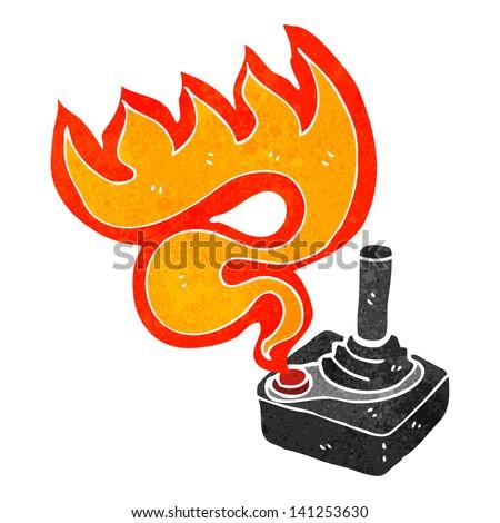 cartoon flaming joystick - stock vector