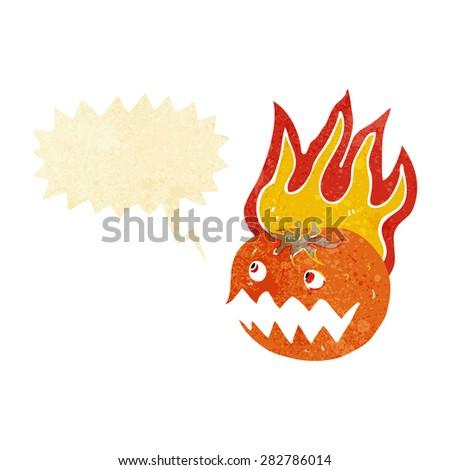 cartoon flaming pumpkin - stock vector