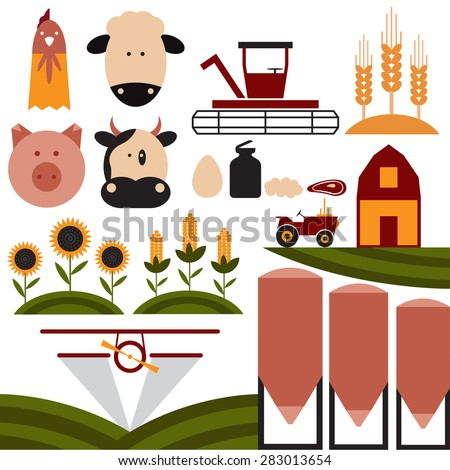 cartoon flat design icons of agriculture