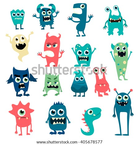 Cartoon flat monsters big set icons. Colorful kids toy cute monster. Vector EPS10