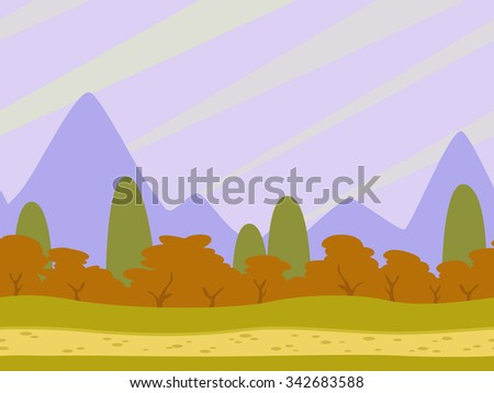 Cartoon flat seamless landscape, separated layers for parallax effect in game design - stock vector