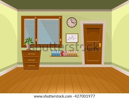 Cartoon Flat Vector Interior Office Room In Lime Style. Vector Illustration Part 82