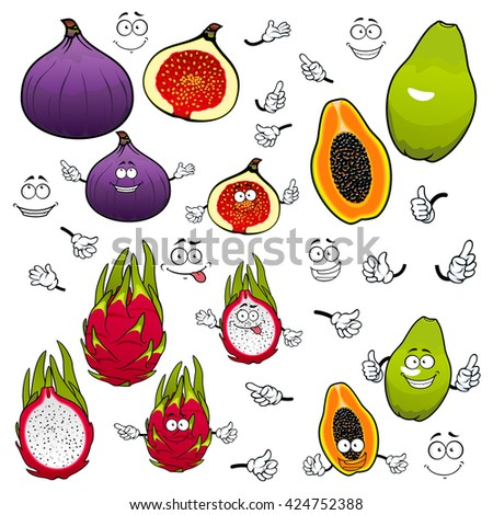 Cartoon flavorful green papaya, juicy pink dragon fruit and sweet purple fig fruits with funny comics faces. Exotic tropical fruits characters for kids menu or vegetarian dessert recipe design - stock vector