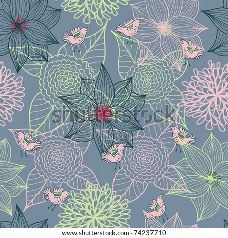 Cartoon floral seamless pattern with bird - stock vector