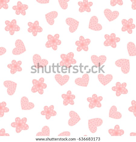 Cartoon Flowers And Hearts Cute Seamless Pattern For Girls Pink White Colour