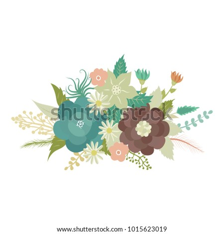 Cartoon Flowers Bouquet It Can Be Used For Greeting Card Invitation Wedding