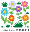 Cartoon flowers collection 1 - vector illustration. - stock vector