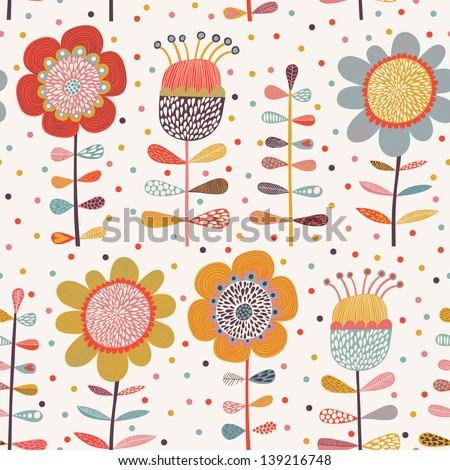 Cartoon flowers. Cute seamless pattern with bright flowers in vector. Can be used for summer backgrounds - stock vector