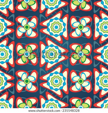 cartoon flowers on a blue background in seamless pattern - stock vector
