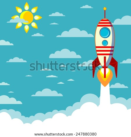 Cartoon Flying Rocket with Illuminotor and Flames from the Engine with space for text in the clouds  - stock vector