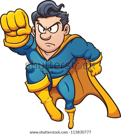 Cartoon flying superhero. Vector illustration with simple gradients. All in a single layer.