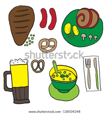 Cartoon food and drink - stock vector