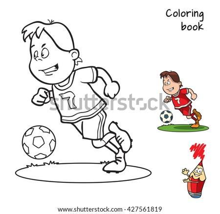 Cartoon Football Player Coloring Book Vector Stock Vector ...
