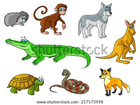 Cartoon forest and jungle animals characters with cute crocodile, fox, monkey, hedgehog, wolf, turtle, snake, kangaroo for childish decor and education design - stock vector