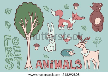 Cartoon forest animals on the blue background  - stock vector