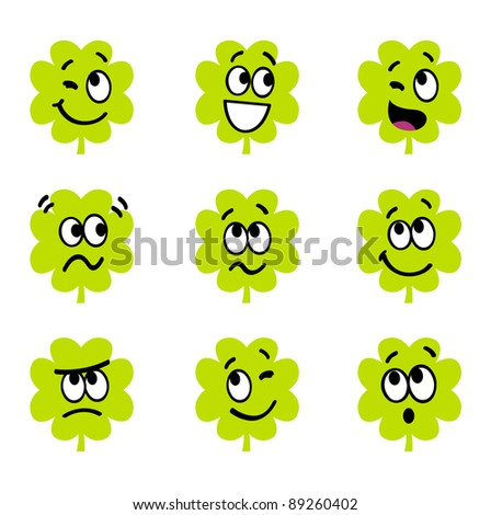 Cartoon four leaf clovers with facial expression isolate on white - stock vector